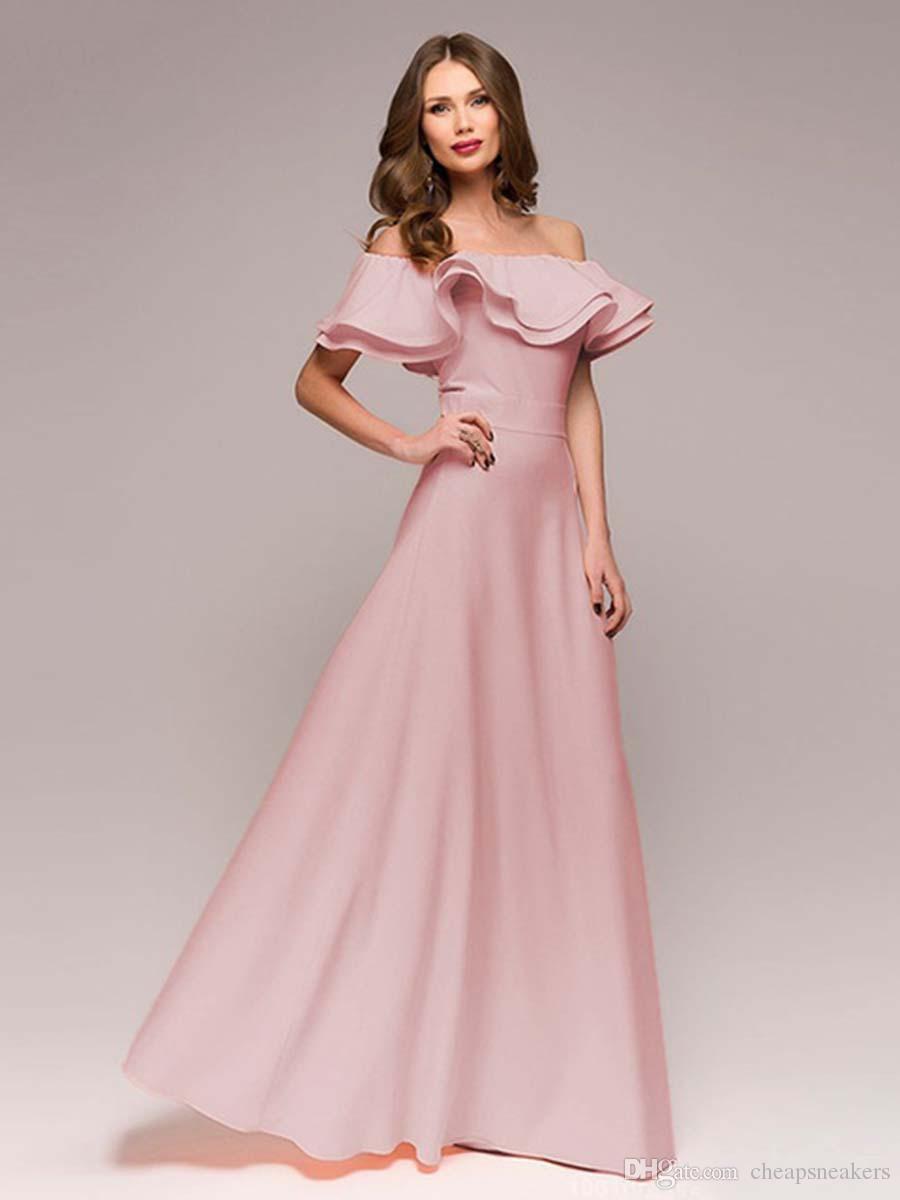 Un hombro, largo y sexy vestido maxi vestido delgado y en forma Nueva llegada para el verano 2018 vestidos de fiesta para mujer sin tirantes