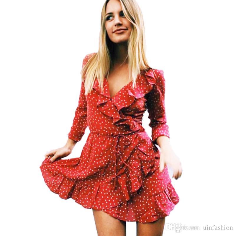 45ade4a4b85b Polka Dot Print Chiffon Dress Elagant Women Sexy V Neck Ruffles Short  Dresses Summer Casual Beach Dress Vestidos Female Womens Floral Dresses  Party Dresses ...