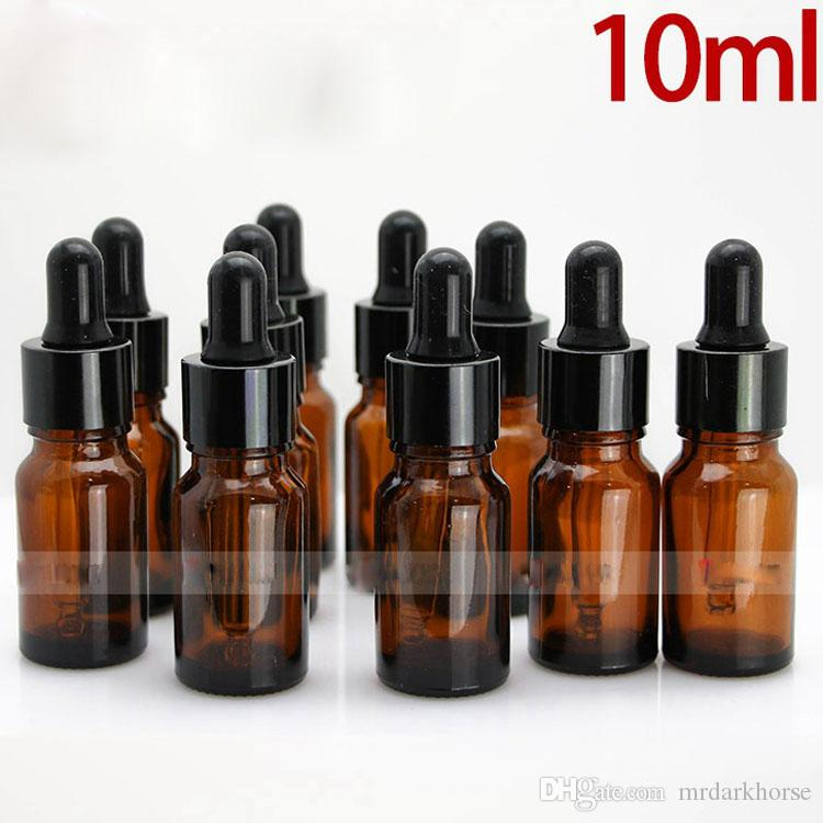960Pcs 10ml Amber E Liquid Dropper Bottles With Glass Sharp Dropper Tip And Black Cap 10ml Ecigarette E Liquid Bottle