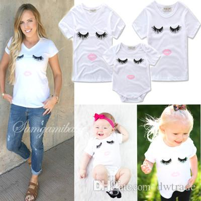 d73b0363ee1 2018 Summer Family Matching Outfit White Blinked Eye Cotton Mommy And Me T Shirt  Children Clothing Baby Romper Baby Girl Clothes 3Style Mother And Daughter  ...