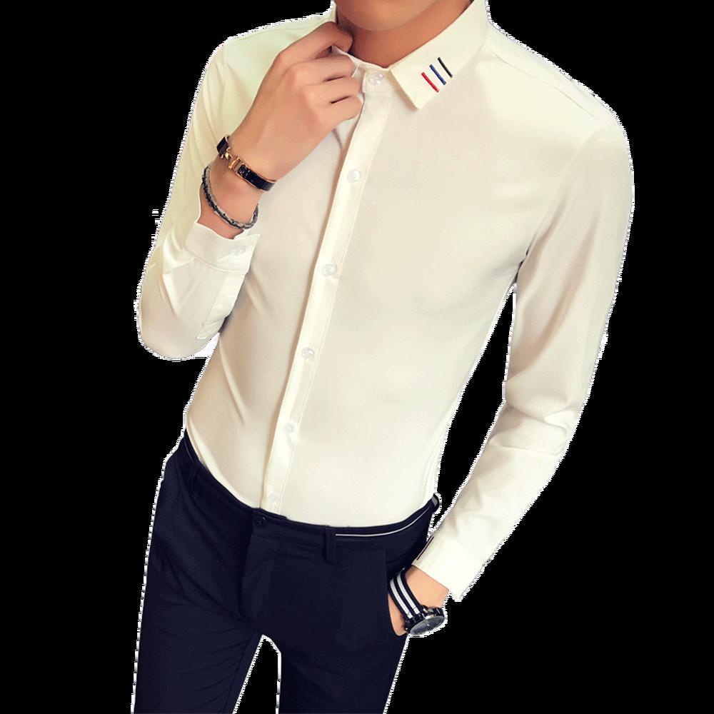 2019 2018 New Shirt Male Long Sleeve Casual White Black Slim
