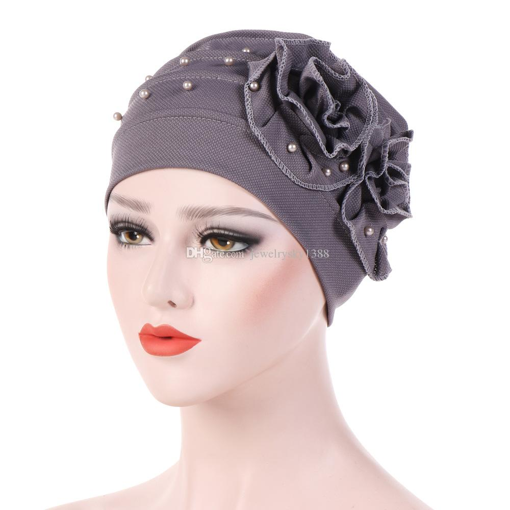 Muslim Women Bead Flower Ruffle Turban Hats Cancer Chemo Beanie Caps  Bandana Hijab Pleated Wrap Cover Hair Loss Accessories Crazy Hats Mens  Beanies From ... 9f5cda81009