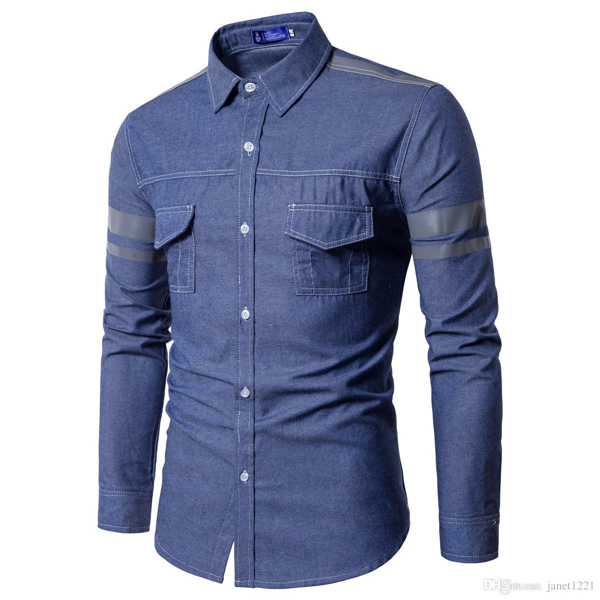 ce7bed3ac58 Cheap Jeans Shirt Men Autumn Fashion Men Jeans Shirt With Two Pockets Slim  Fit Casual Denim Long Sleeve Solid Shirts Tops J180758