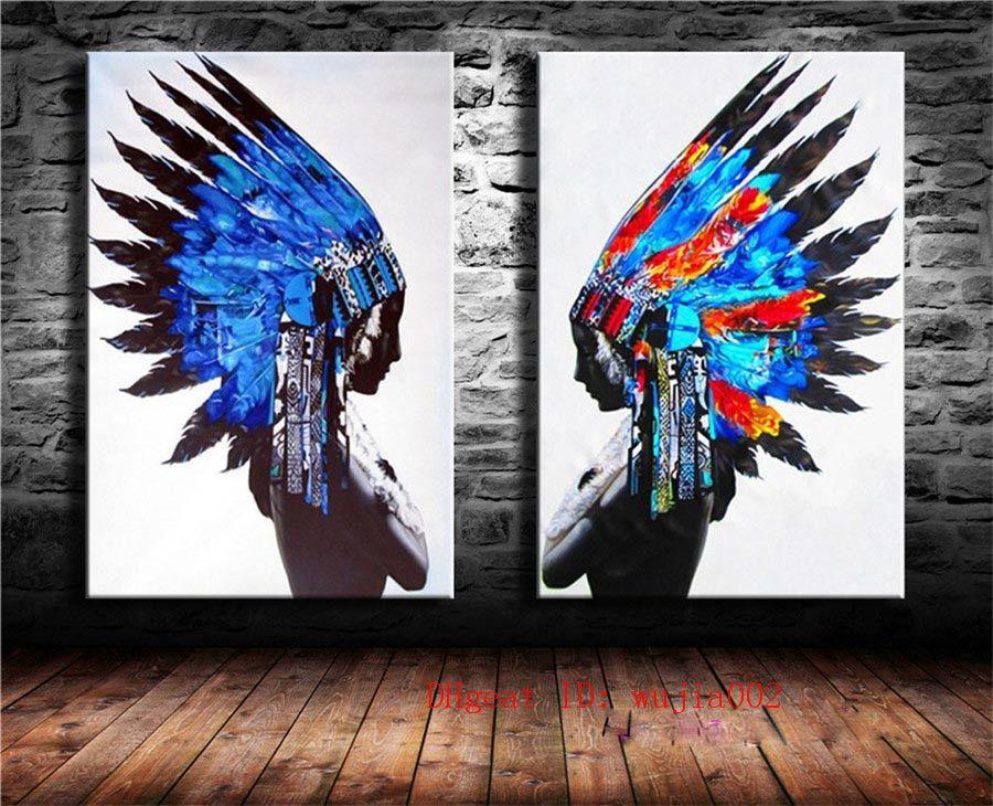 Satın Al Mavi Tüy Hintliler 2 P Tuval Boyama Oturma Odası Ev Dekor