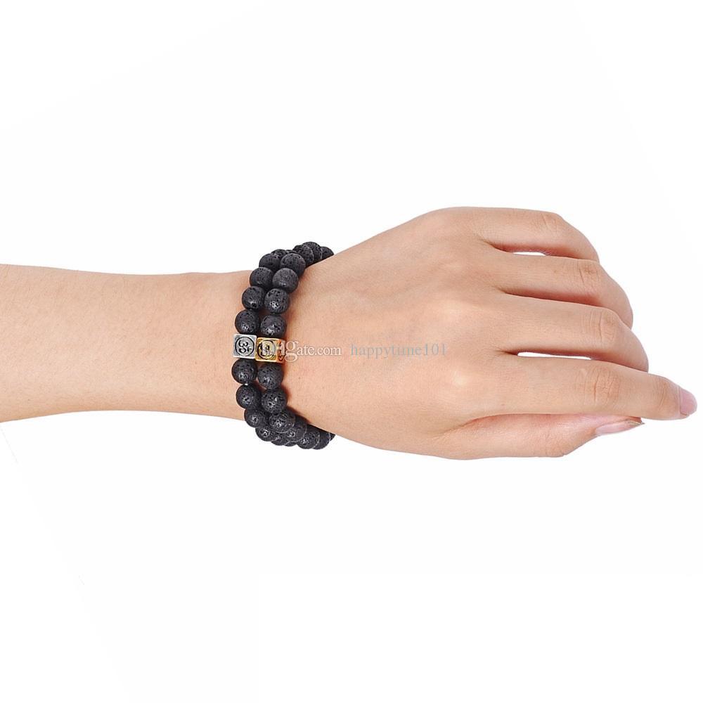 8mm Natural Stone Lava Rock Bracelet Cube Zinc Alloy Silver Gold Color Aromatherapy Essential Oil Diffuser Bracelet