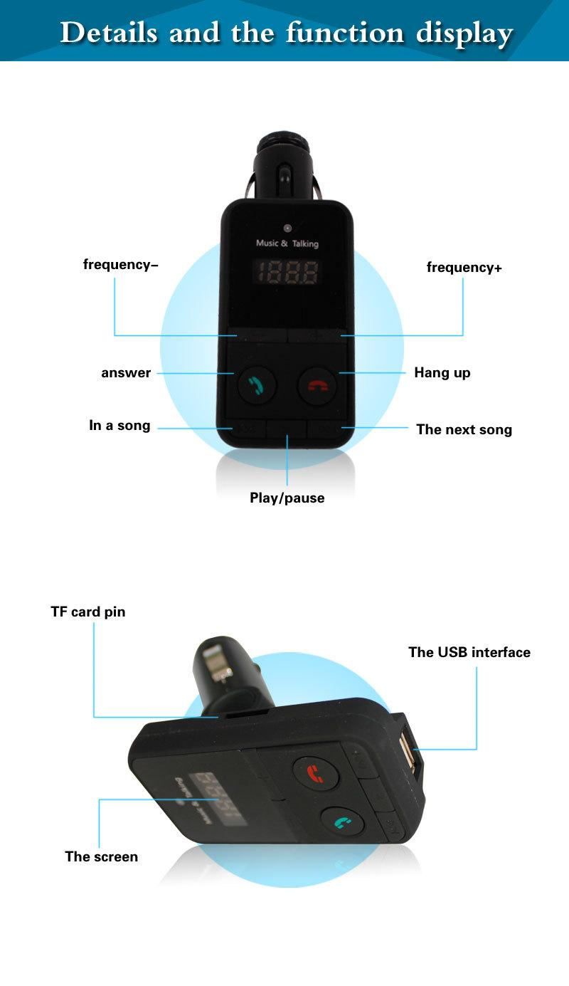 301E 302E Wireless Bluetooth Car MP3 Player with Remote Control FM Transmitter LCD Display TF Card USB Port Mobile Charger Kit