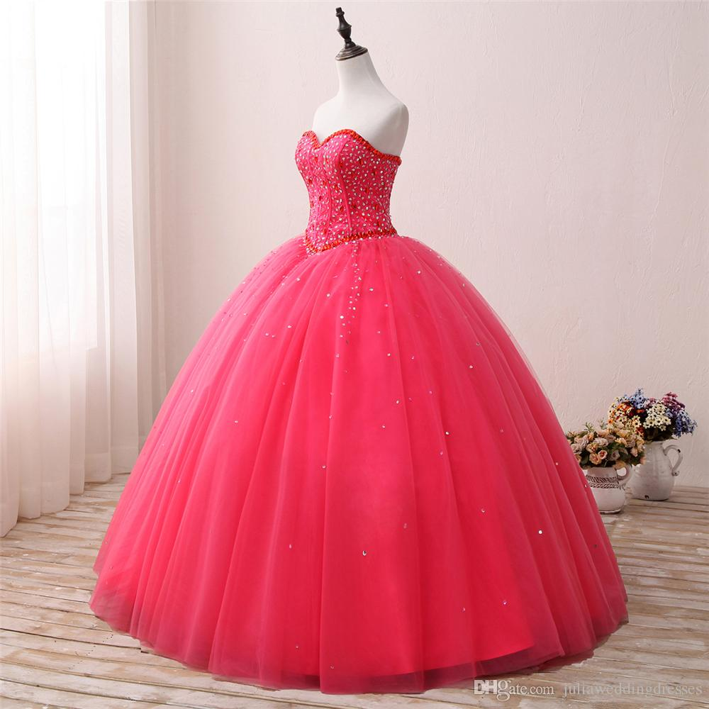 2018 New Arrived Real Photo Sexy Crystal Ball Gown Quinceanera Dress with Beading Sequin Tulle Sweet 16 Dress Vestido Debutante Gowns BQ133