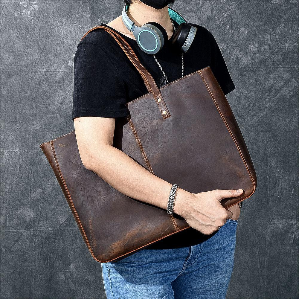 b3ff72c7ffc04 Large Genuine Leather Tote Bag Women Handmade Vintage Laptop Handbag Large  Capacity Shoulder Bags Classic Casual Shopping Totes Fiorelli Handbags  Ladies ...