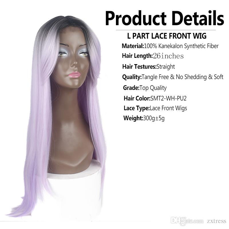 Cheap Synthetic lace front wig Long Silky Straight L part ombre #1B Purple hair glueless heat resistant synthetic wigs for black women