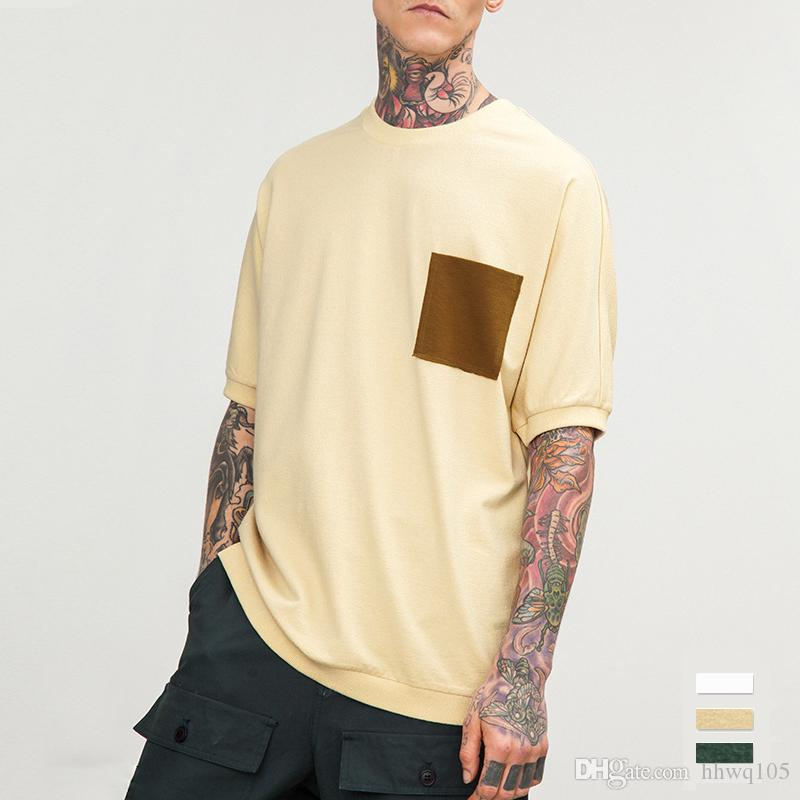 ede12ad52f8e Men S Contrast Pocket T Shirt Short Sleeve O Neck Oversized Tees Plain  Green White Khaki Cotton T Shirts M 2XL JZH0607 Free T Shirts T Shirts  Deals From ...