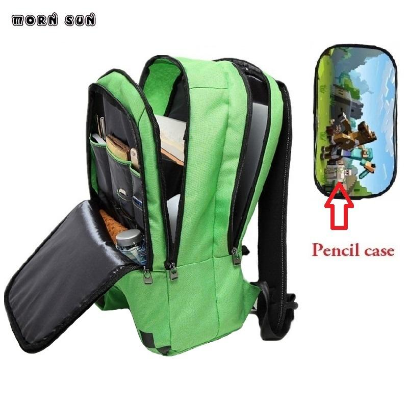 9d8245bdb4 High Quality Schoolbag Green Minecraft Backpack Unisex Canvas School Bag  Kids Bags Children Backpack Student Schooltas Scool Y18100704 Cheap Rolling  ...