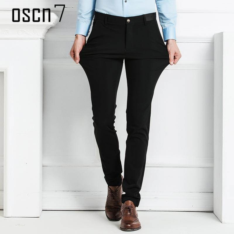 Oscn7 Solid Black Mens Pants Formal Slim Fit Leisure 2017 Business