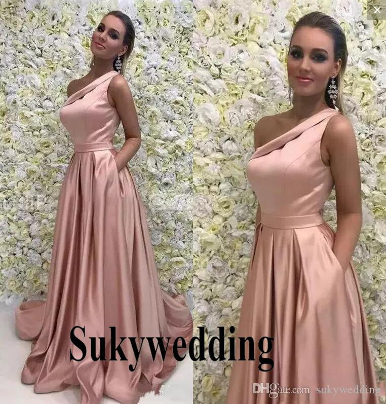 Cheap One Shoulder Satin Bridesmaids Dresses Long Pleats Wedding Guest Party  Dress Plus Size A Line Prom Dress Cheap Wedding Party Gowns Dusty Pink ... 664a88868743