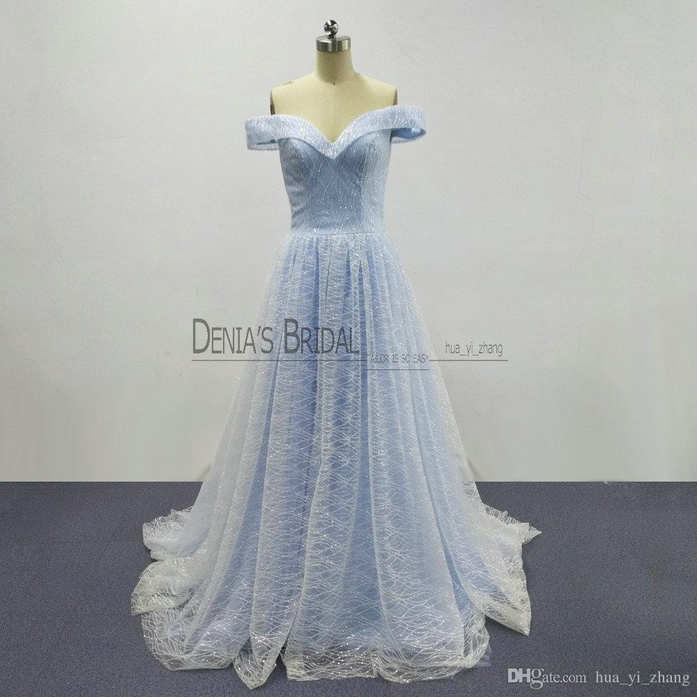 2018 Cinderella A-Line Evening Dresses with Off Shoulder Court Train Bling Glitter Lace Fairy Elegant Princess Prom Gowns Real Images