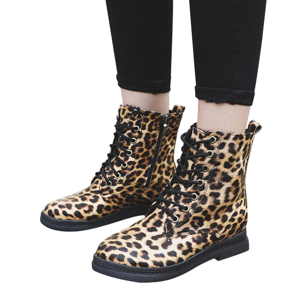 amplia selección de diseños sin impuesto de venta marca popular Zapatos de invierno Mujer Botines Estampados de Leopardo Zapatos Martain  Boots Mantener Cálido Botines Mujer 2018 Chaussures Femme # 445