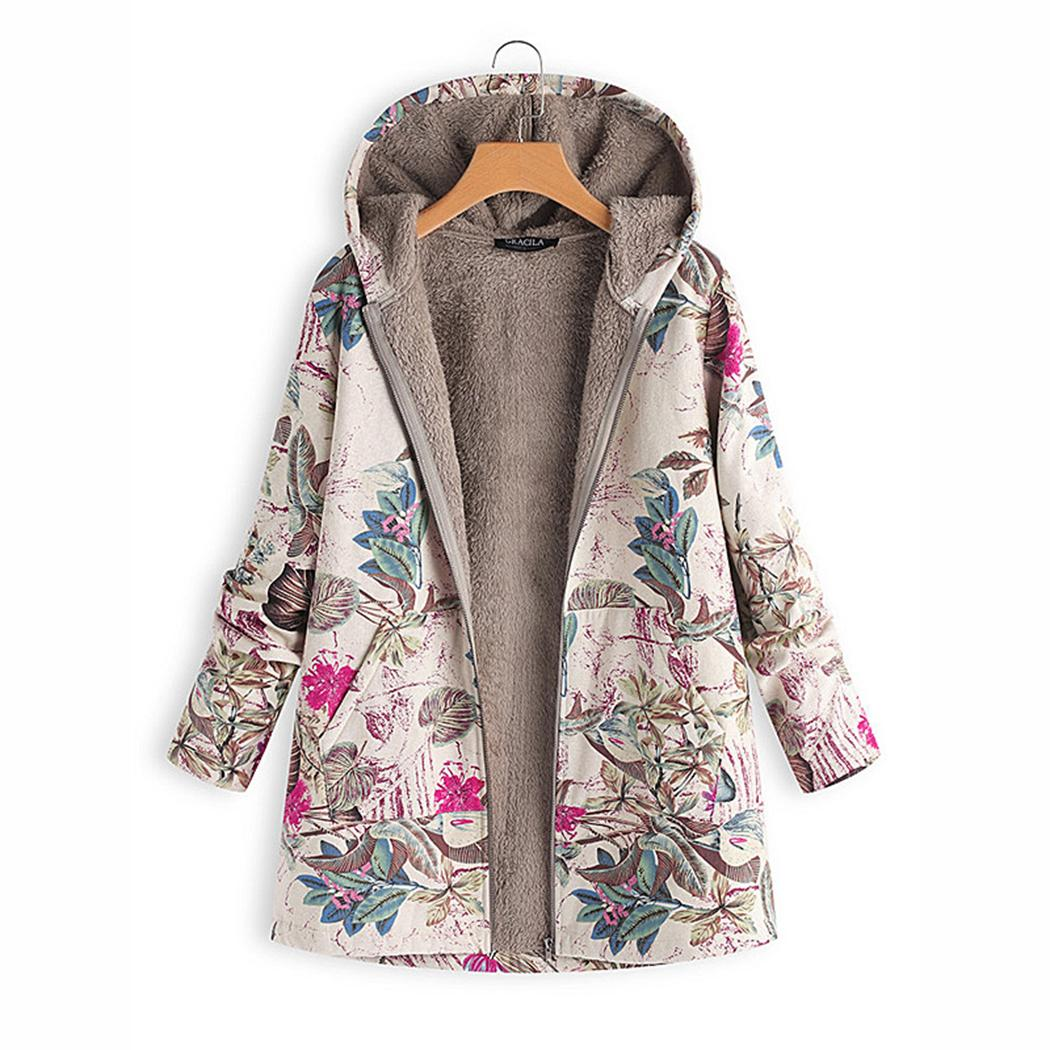 86d29a7c222a Acheter Hiver Chaud Femmes Polaire Manteau Vintage Floral Imprimer Manteaux  Outwear Surdimensionné Poche À Capuche Veste Dames Outwear Coupe Vent M 4XL  De ...