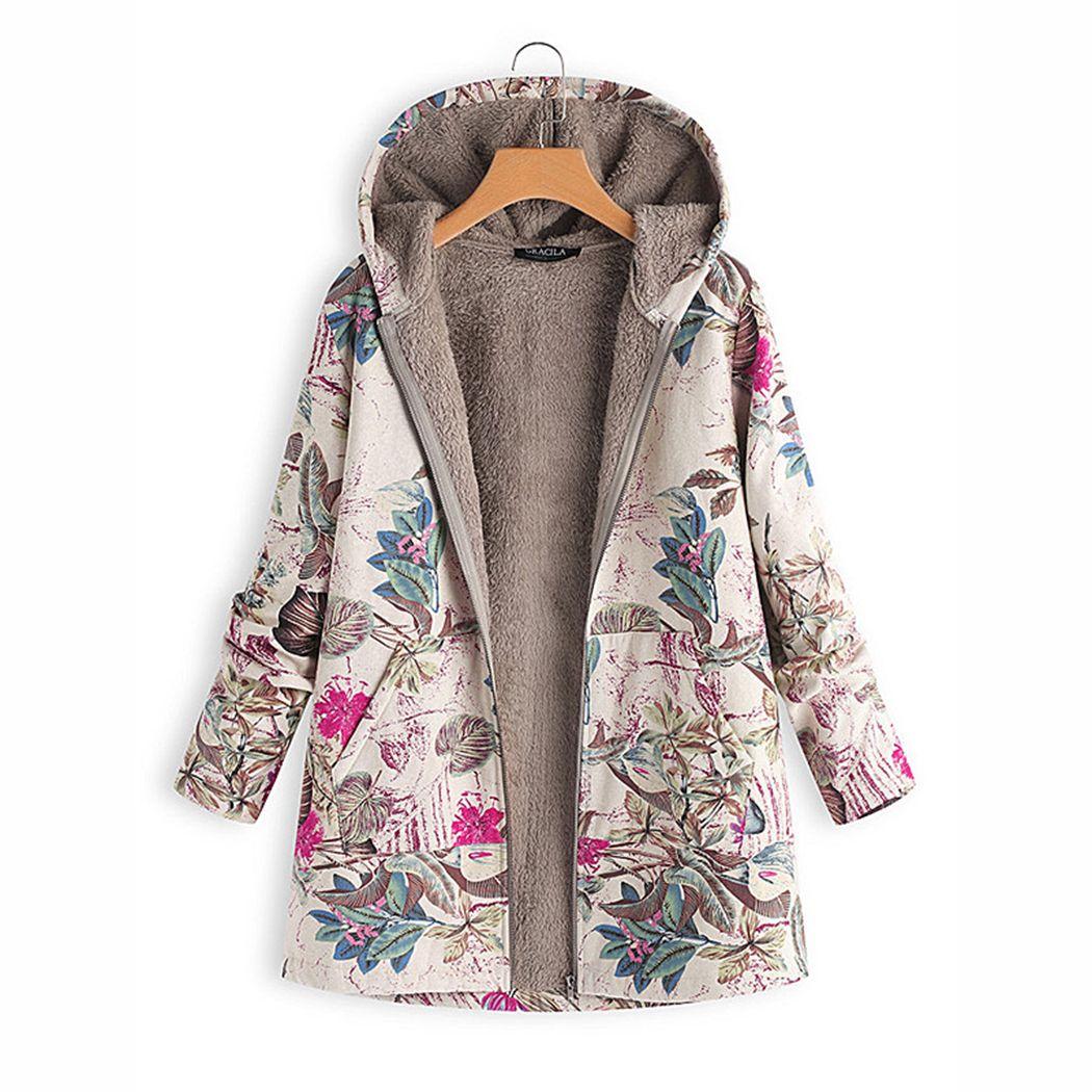 05c7ace3b21 Winter Warm Women Fleece Coat Vintage Floral Print Coats Outwear Oversize  Pocket Hooded Jacket Ladies Outwear Windproof M 4XL Coat Jacket Fur Leather  Jacket ...