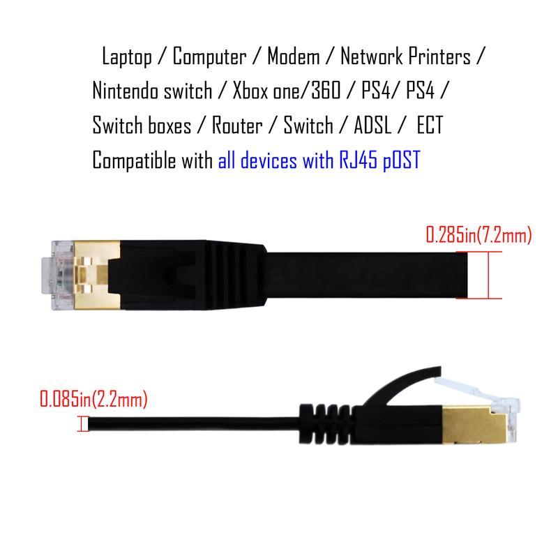 RJ45 CAT6 Ethernet-Kabel 5 Fuß flaches Internet-Netzwerk LAN-Patchkabel für PC-Computer-Modem-Router PS4