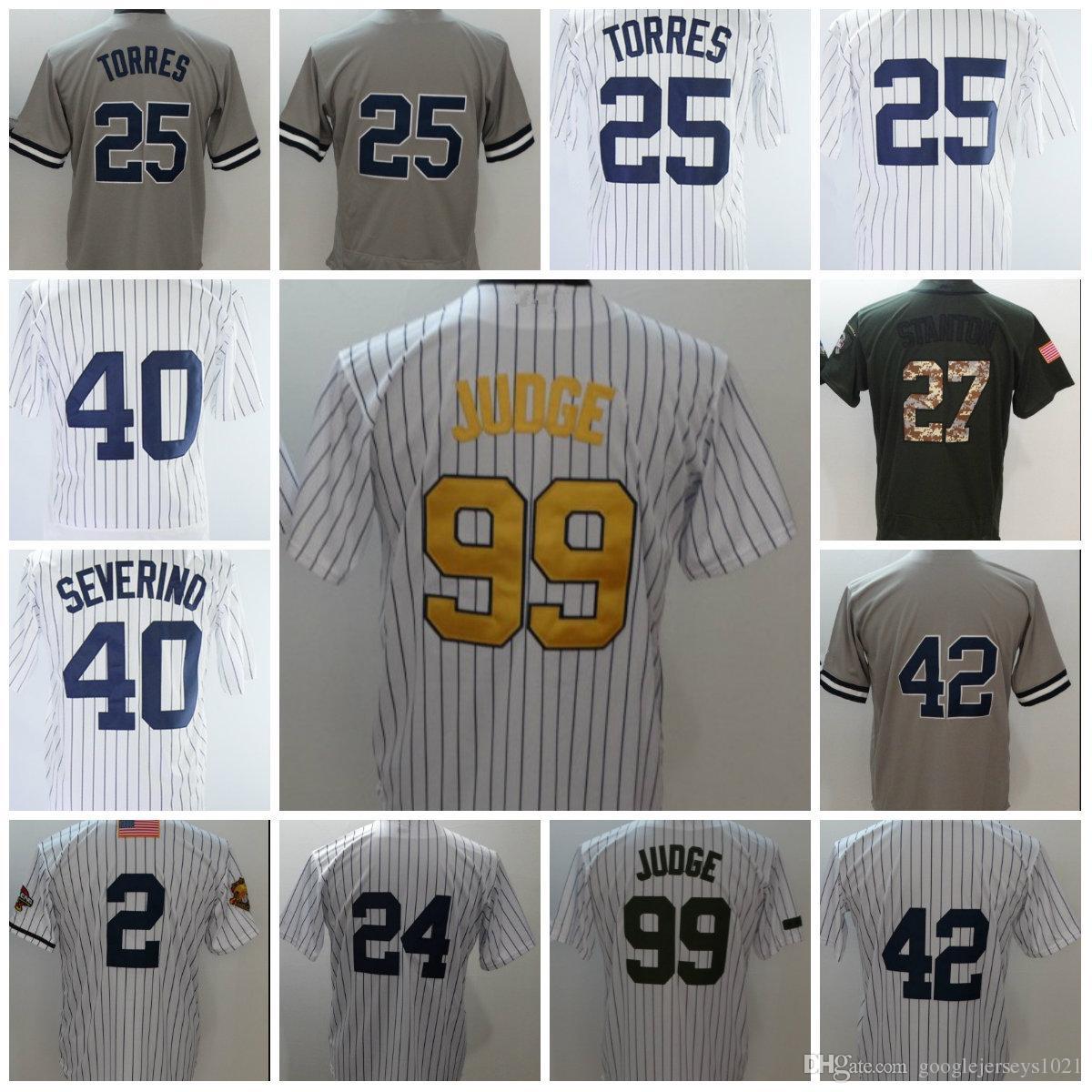 2018 New Baseball  99 Aaron Judge Grey 25 Gleyber Torres 27 Stanton ... 86eec9cd2c3