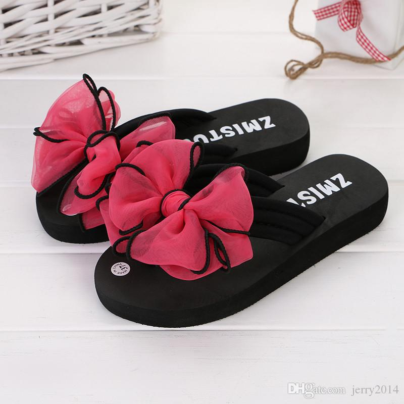 Wholesale new Beach shoes Summer fashion bowtie thick-soled slipper Flip Flops women's casual breathable wedge heels slippers plus size