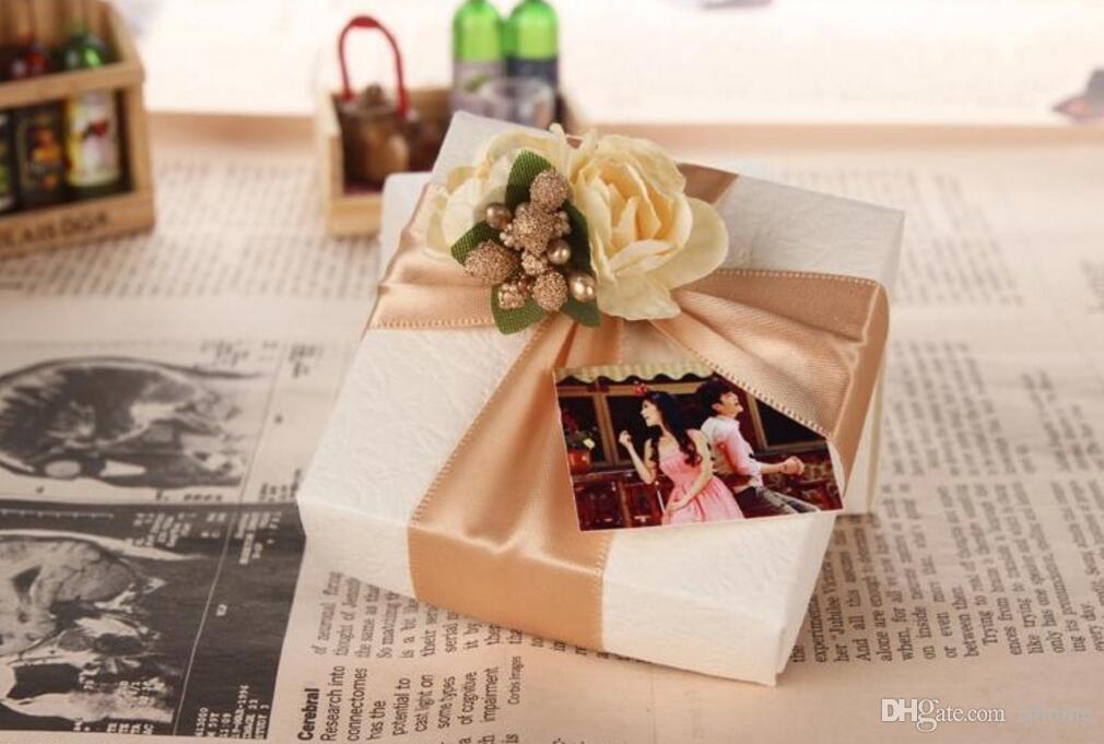 50 Stücke Champagner farbe Platz pralinenschachteln Hochzeit pralinenschachtel Partei Liefert Geschenkpapier Geschenk-boxen Schöne Box