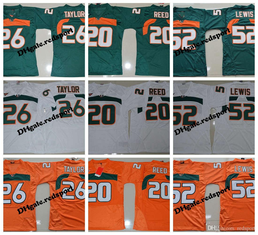 c22213cac 2019 Mens Miami Hurricanes College Football Jerseys 26 Sean Taylor 52 Ray  Lewis 20 Ed Reed Retro University Football Shirts From Redsport