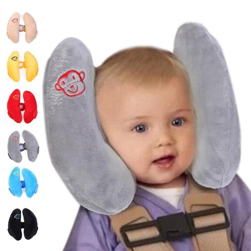 Soft Baby Safety U-shaped Pillow With Protective Cover Car Seat Stroller Pillow Cartoon Short Plush Infant Head Neck Support Mother & Kids Strollers Accessories