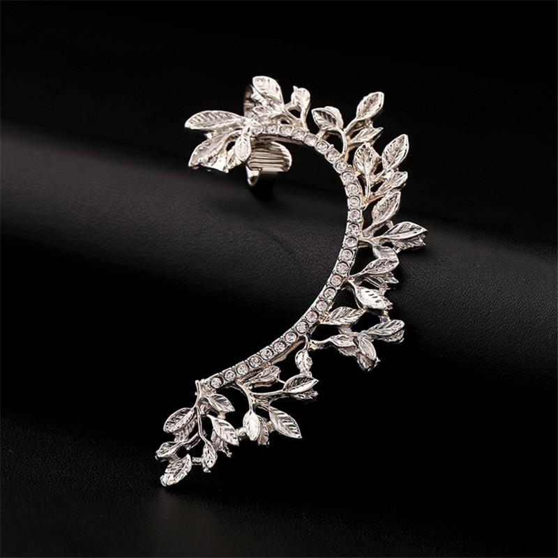 2017 Women Fashion Statement Punk Jewelry Gold coated Full Rhinestone Crystal Vintage Leaf Ear Cuff Clip Earrings Brincos