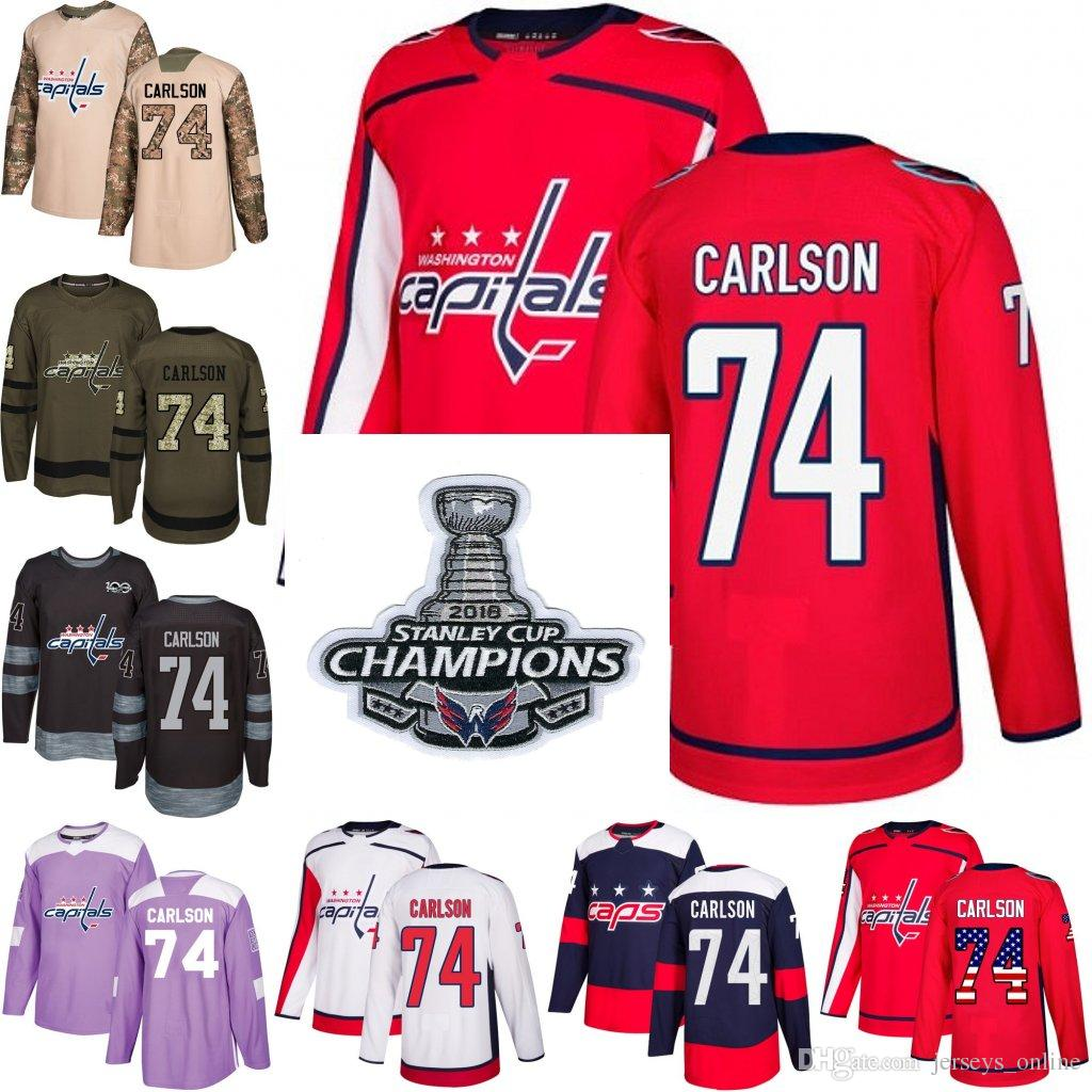 d251c7c169d 2019 2018 Stanley Cup Champions 74 John Carlson Washington Capitals Green  Red USA Flag Purple Fights Cancer Practice Camo Veterans Day Jerseys From  ...