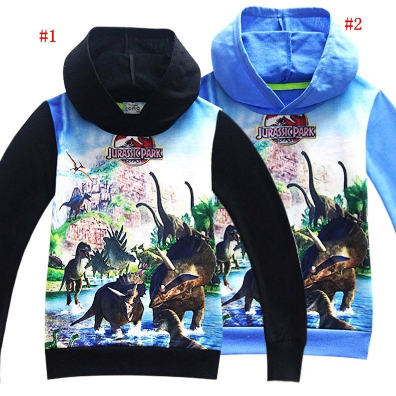 meistverkauft vollständig in den Spezifikationen erster Blick Kinder Jurassic World Park Print Hoodies 4 Farben Mädchen Jungen Cartoon  Shirt Langarm Baumwolle Kleidung Kinder Kleidung MMA902 30 stücke