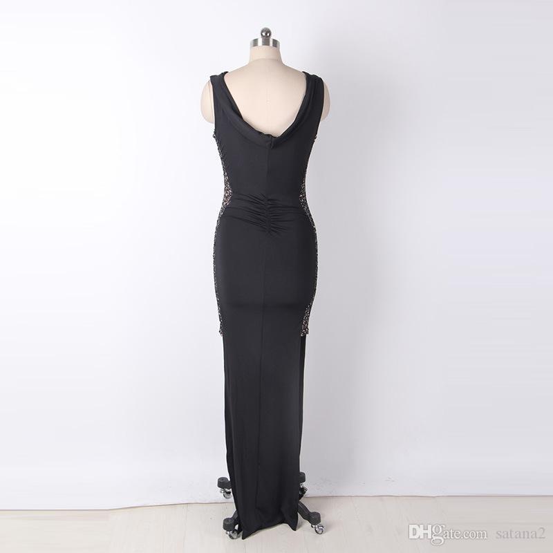 Großhandel 2018 Mode Frauen Lange Hi Lo Ärmel Kleid Alle Schwarzen Party  Club Sexy Kleid Halter Bodycon Kleider Von Satana2,  16.09 Auf De.Dhgate. c646b05797