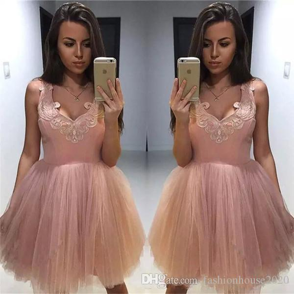 fbff6626b9 Dusty Pink Arabic Cocktail Dresses Saghetti Straps Sleeveless Lace Appliques  Short Mini Knee Length A Line Tulle Sexy Party Homecoming Gowns Maternity  ...