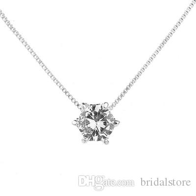 Simple Deign Silver bridal jewelry Zircon Pendant Affordable Diamond Necklace For Wedding Cheap wedding necklace pendants 2018 Silver Chain