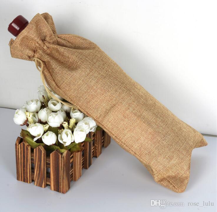 الجوت زجاجة النبيذ يغطي الشمبانيا النبيذ مكفوفين تغليف الهدايا حقائب الفلاح هسه زفاف عيد الميلاد عشاء الجدول تزيين 15x35cm