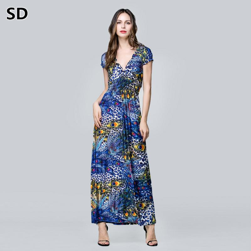 32f9b4878fe SD 2018 New Arrivals Maxi Dresses Plus Size Floral Print Boho Beach Dress  Long Club Robe For Women Ladies Elegant Vestidos W78 Dress For Womens White  Summer ...