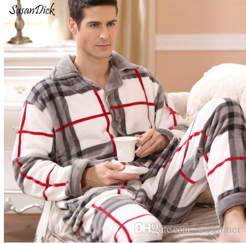 f3a731e4396b 2019 SusanDick New Winter Pajamas Men Thick Fleece Pajama Sets Luxury Warm  Sleepwear Plaid Suits Man Casual Home Clothes Pijama From Seeinnner