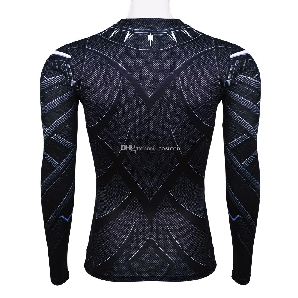 Black Panther 3D Printed T-shirts Man Captain America Civil War T'Challa Tee Long Sleeve Cosplay Halloween Costumes Party Prop