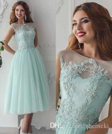 13e8988556e 2019 New Mint Tulle Vintage Scoop Neck A Line Lace Applique Prom Dresses  Cap Sleeves Tea Length Lace Up Party Evening Dresses Custom Made Mint Green  Prom ...