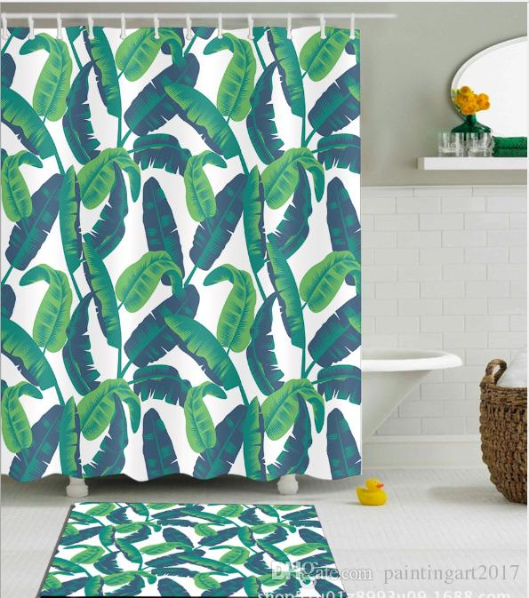 2019 Waterproof Mildewproof Polyester Shower Curtain Banana Leaf Pattern Fashion Painting Jungle Of Exotic Tropic Plants Water Floor Mats From