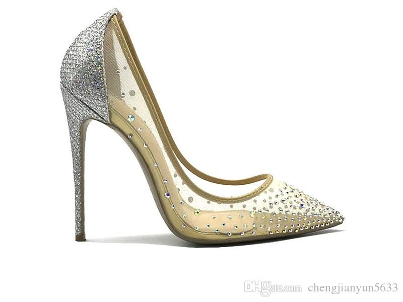 2018 Fashion Blingbling Crystal Mesh Rhinestone Women Pointed Toe Heels  Crystal Bling Silver Shoes High Heels Pumps 12cm New Scholl Shoes Silver  High Heels ... d27211ef78e8