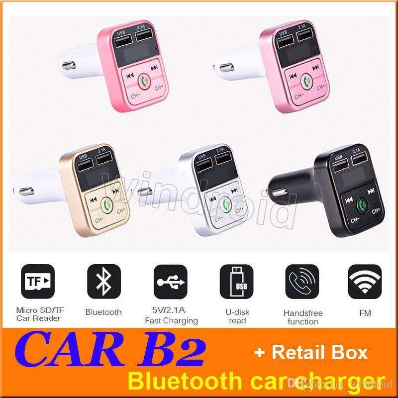 Cheapest CAR B2 Multifunction Bluetooth Transmitter 2.1A Dual USB Car charger FM MP3 Player Car Kit Support TF Card Handsfree + retail box