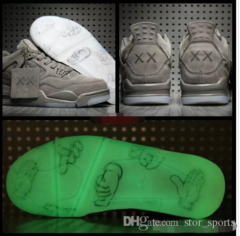 4579bb2ba8d903 2018 KAWS X 4 XX Kaws Cool Grey White Black Glow Basketball Shoes Mens Best  Quality 4s White Blue Black Sports Sneakers Mens Loafers Designer Shoes From  ...