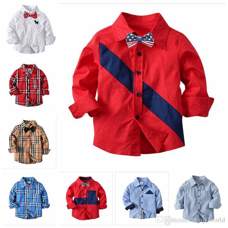 Baby Boy Clothes Spring Autumn Kids Plaid Shirt Tops Toddler Cotton Shirt  Blouse Long Sleeve Shirts Baby Designer Gentleman S Tops YL391 UK 2019 From  ... 2653a61aa99a
