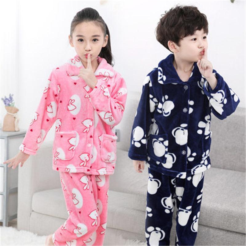 90bc1023e Girls   Boys Autumn Winter Clothes Flannel Pyjamas Girls Pijamas ...
