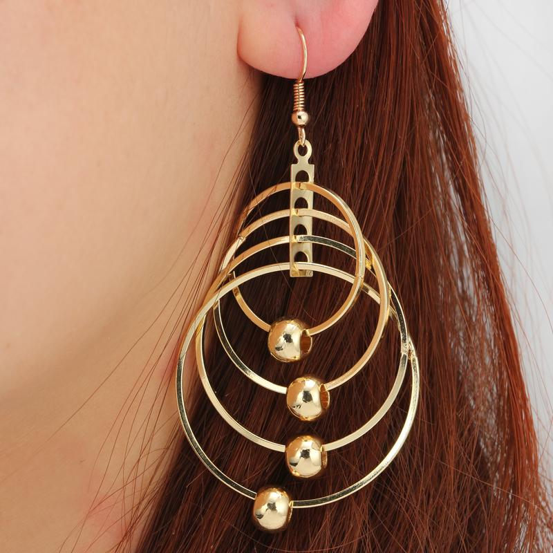 9f343c61f Gold Color Big Drop For Women Metal Over Sized Round Jewelry Trendy Party  Girl Dangle Earrings Haif Fashion Drop Earrings Earrings Online with  $6.72/Pair on ...