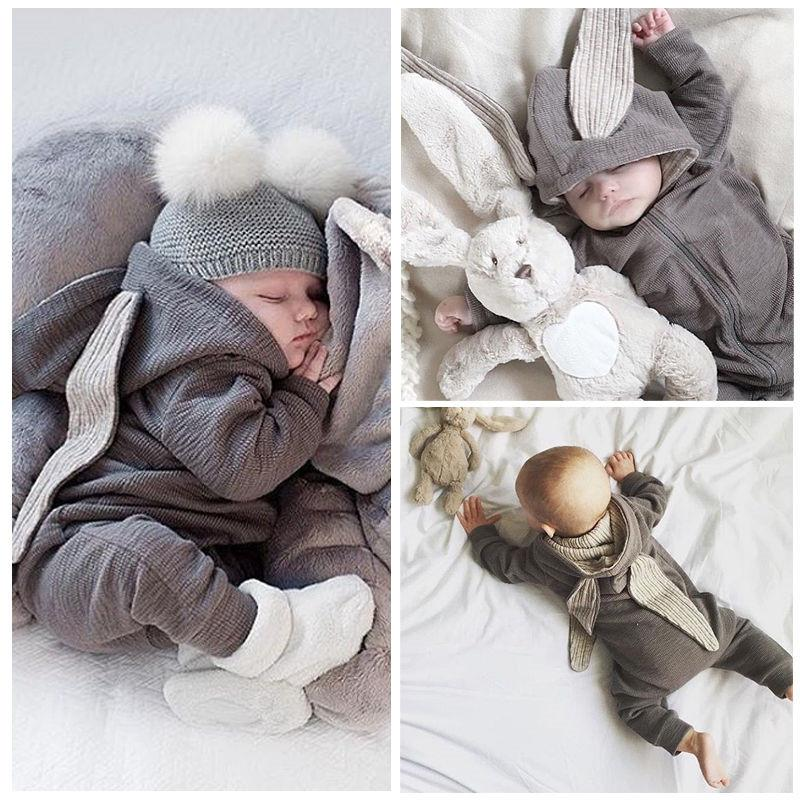 68a72ffd506 2019 Baby Clothing Rompers Babies Big Bunny Hooded Zip Baby Girl Romper Boy  Four Seasons Wear Grey Harleys Jumpsuit Clothes From Ouronlinelife