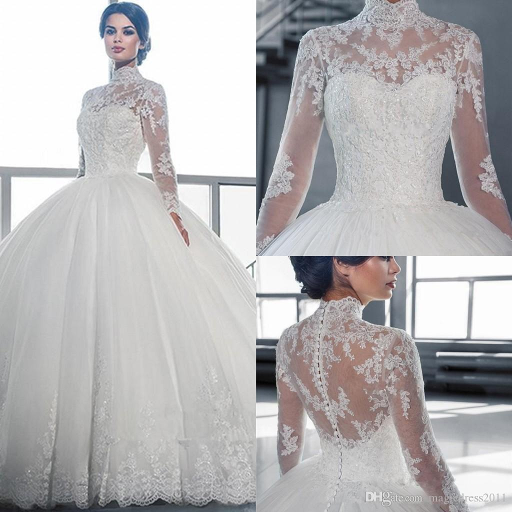 98beca592d7 2018 Vintage Illusion Long Sleeve Wedding Dresses With High Neck Lace  Appliques Tulle Ball Gown Bridal Gowns Sweep Train Formal Dressws Wedding  Dresses 2018 ...