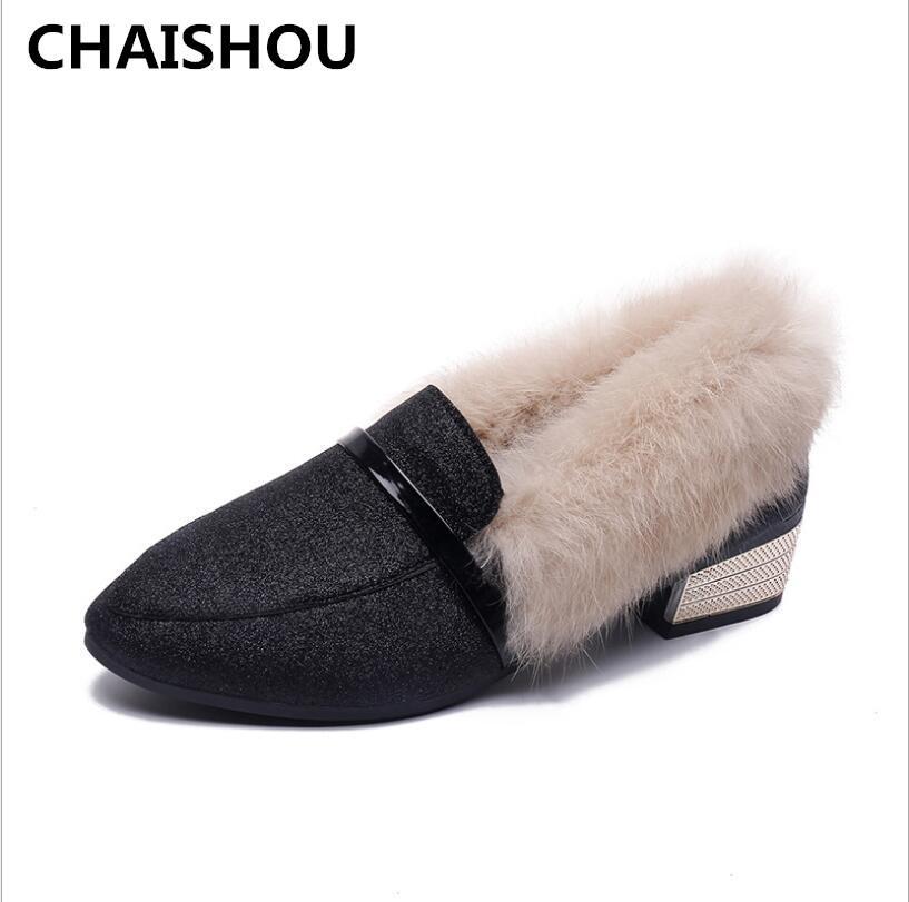 befa273613e3 CHAISHOU Winter neue Erbsenschuhe plus Größe Damen runden Kopf Pailletten  Plüsch Baumwolle Schuhe Ankle Keep Warm plus Samt Frauen
