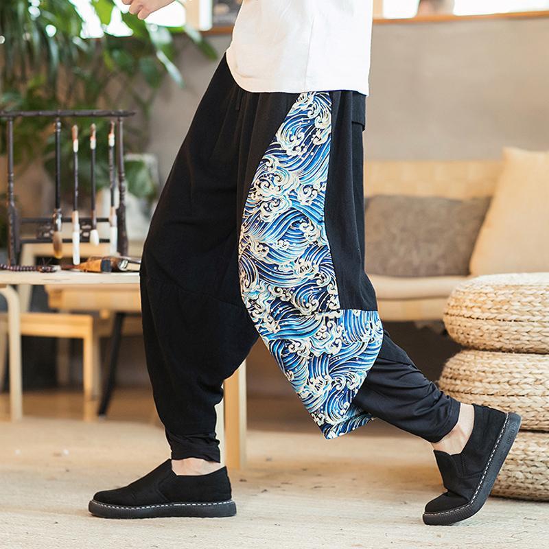 acheter pantalons bouffants hommes pantalons en lin coton hommes