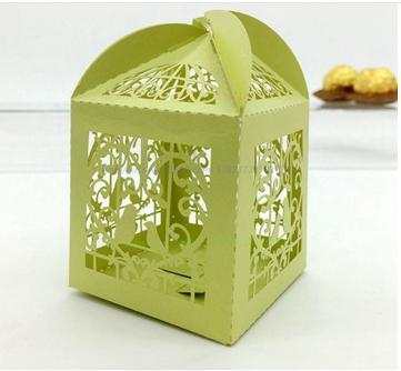 Sweet Heart Love Bird Laser Cut Hollow Carriage Baby Shower Favors Boxes Gifts Candy Boxes Favor Holders With Ribbon
